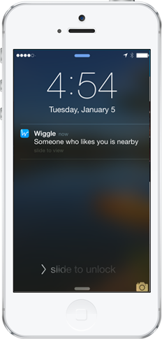 Dating App Wiggle nearby screen